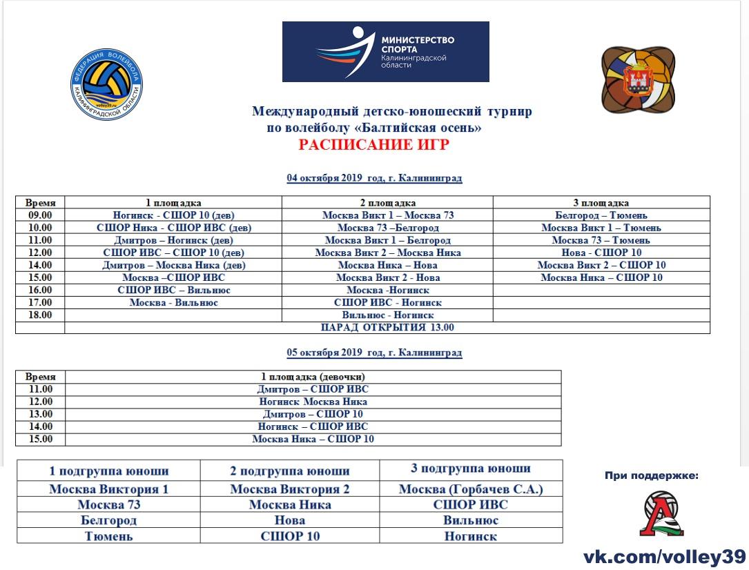 расписание волейбол турнир балтийская осень 2019